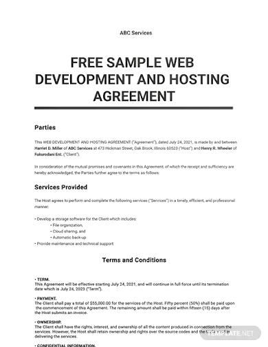 web development and hosting agreement templatess