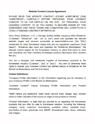 website content license agreement