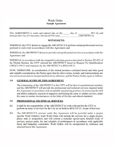 work order agreement