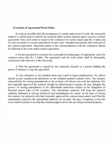 work order execution agreement