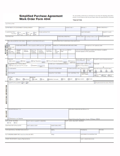work order form purchase agreement