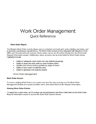 work order management access report