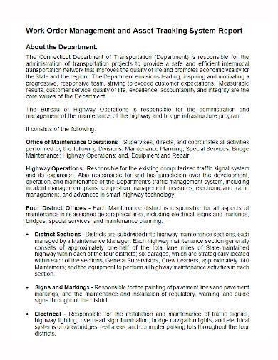 work order management asset system report