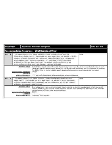 work order management recommendation report