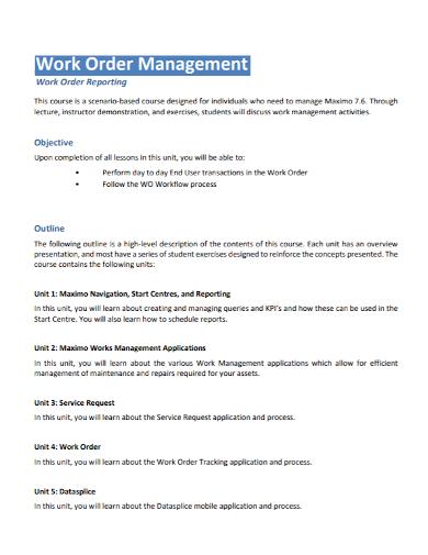 work order management report