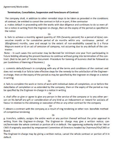 work order termination agreement