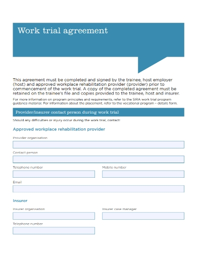 work trial agreement
