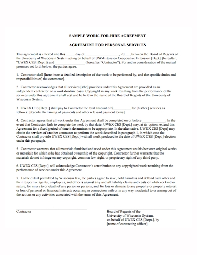 work for hire personal services agreement
