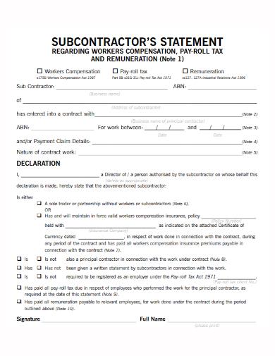worker compensation subcontractor statement