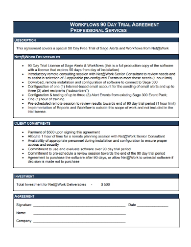 workflow 90 day trial agreement
