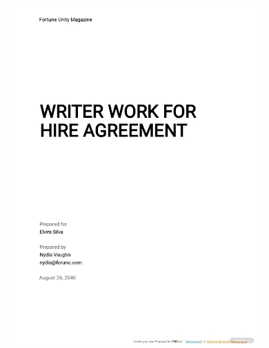 writer work for hire agreement template