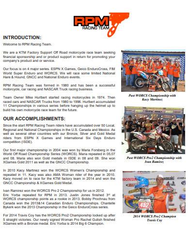 bike team sponsorship proposal