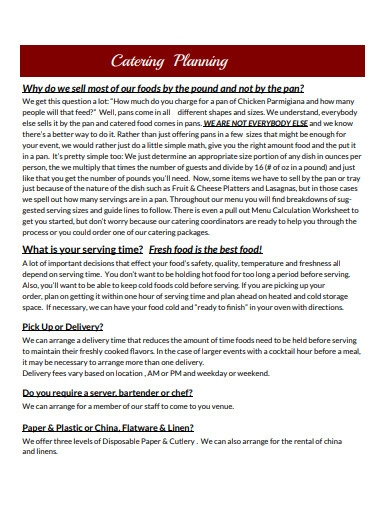 catering project menu plan