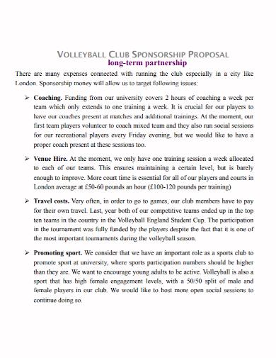 club sponsorship partnership proposal