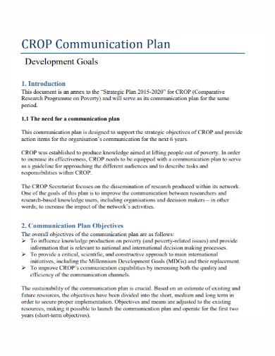 communication development goals plan