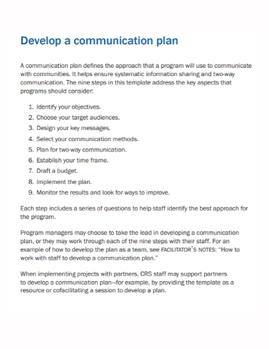 communication development plan