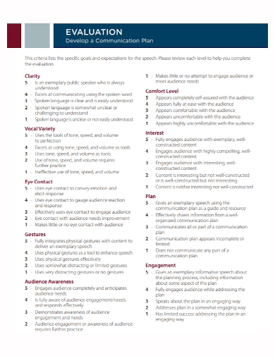 communication evaluation development plan