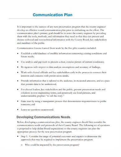communication needs development plan