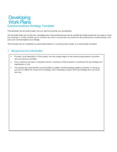 communication strategy development work plan