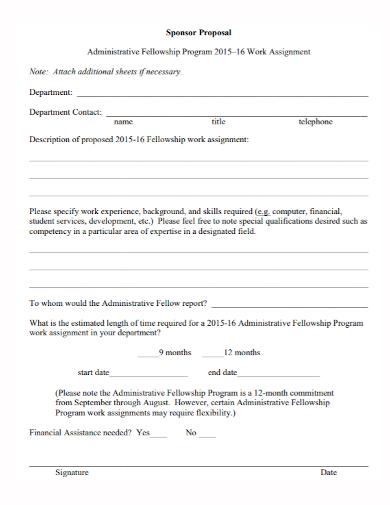 fellowship program sponsorship proposal