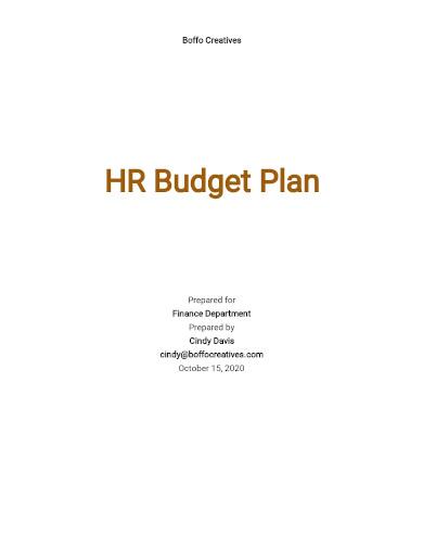 hr budget plan