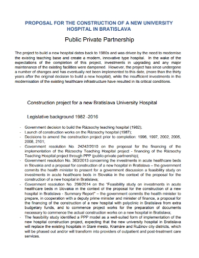 hospital construction partnership proposal