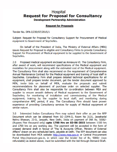 hospital consultancy partnership proposals