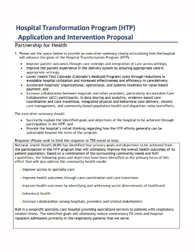 hospital partnership program proposal