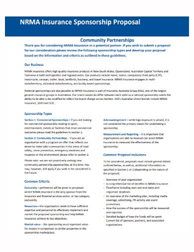 insurance sponsorship partnership proposal