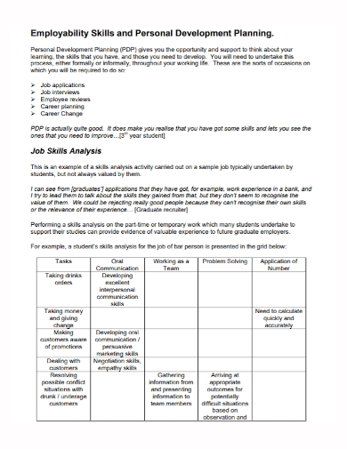 job skills development plan