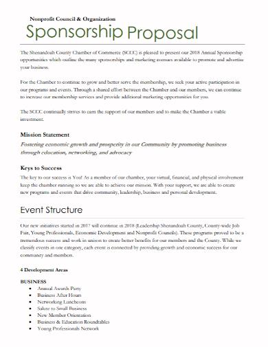 nonprofit council sponsorship proposal