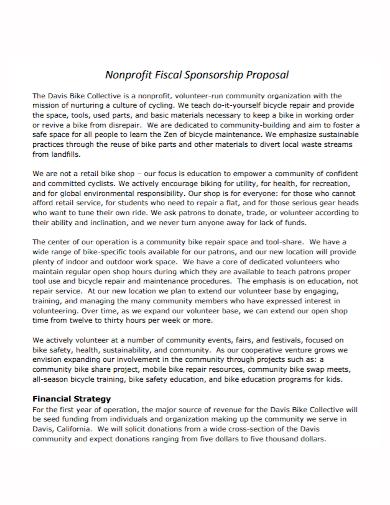 nonprofit fiscal sponsorship proposal