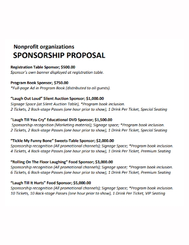 nonprofit organization sponsorship proposal