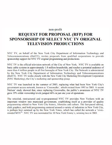 nonprofit sponsorship request for proposal