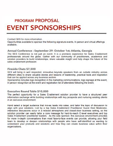 program event sponsorship proposal