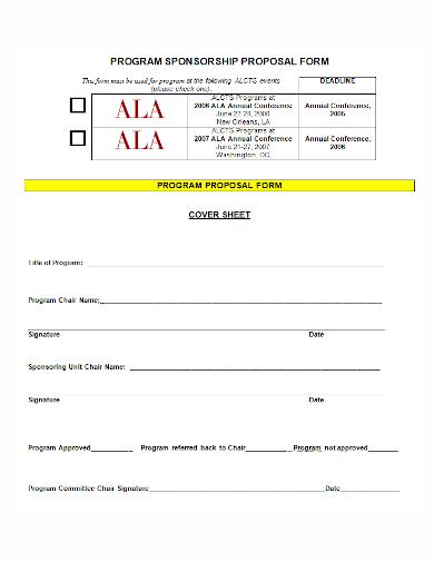 program sponsorship proposal form