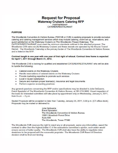 restaurant caterer partnership proposal