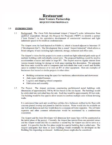 restaurant joint venture partnership proposal