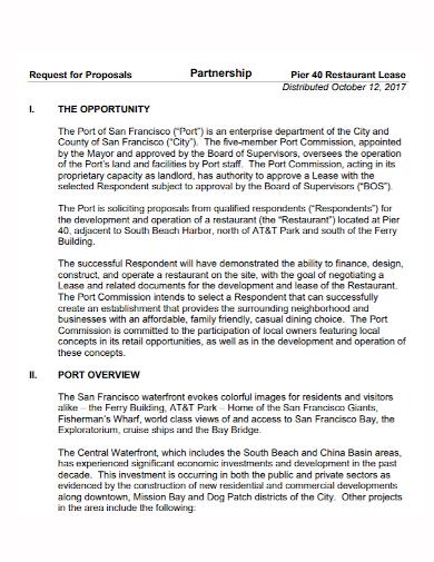 restaurant lease partnership proposal
