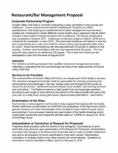 restaurant management partnership proposal