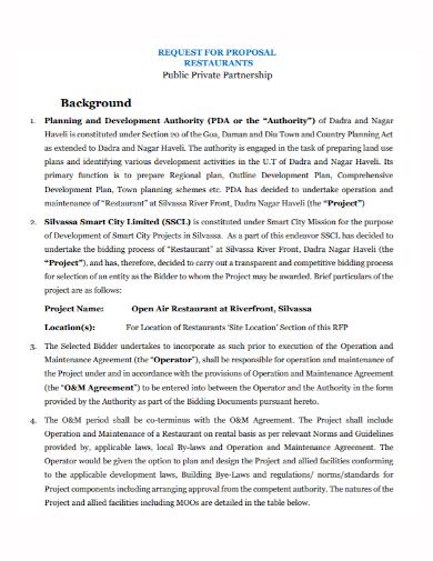 restaurant private partnership proposal