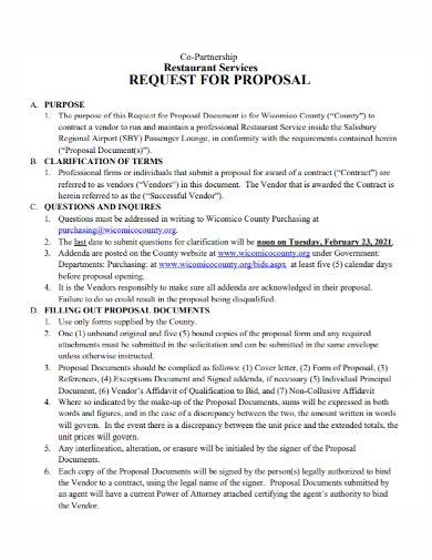 restaurant services partnership proposal