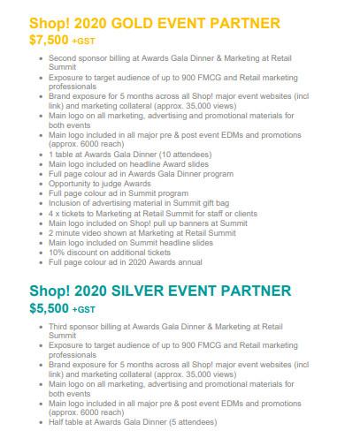 retail event partnership proposal