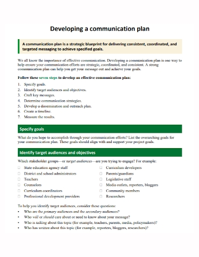 sample communication development plan