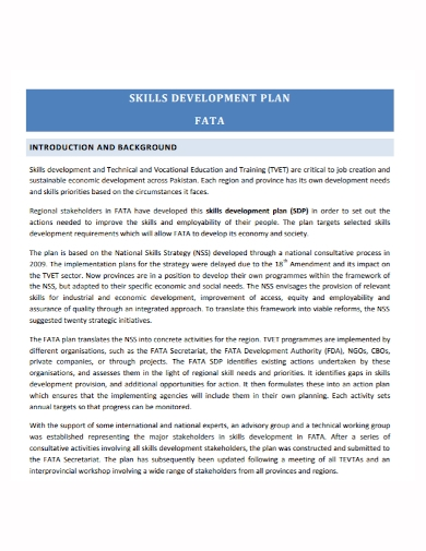 sample skills development plan