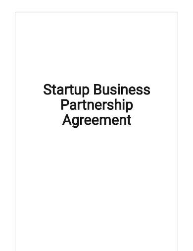 sample startup business partnership agreement