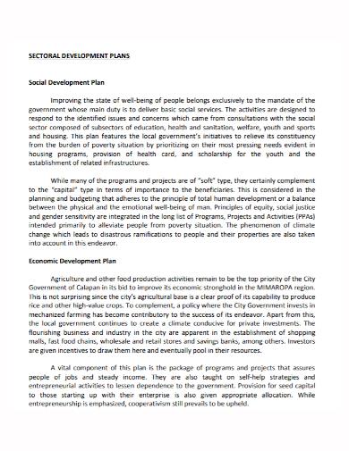 sectoral social development plan