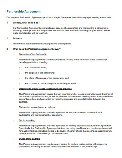 simple startup business partnership agreement