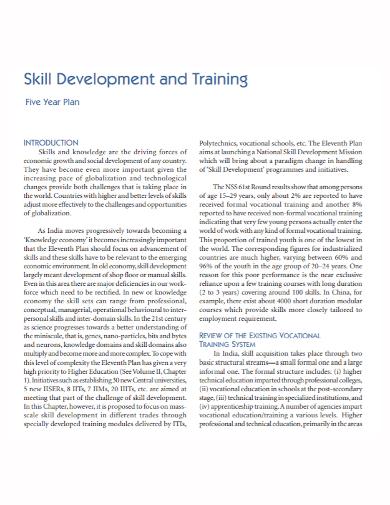 skills development training plan