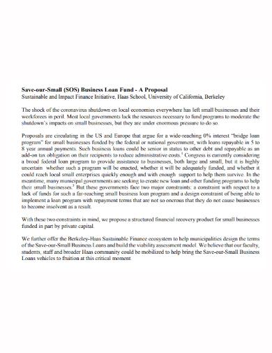 small business loan fund proposal
